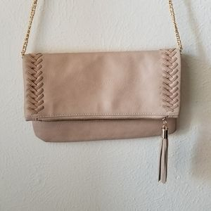 Crown Vintage Fringe Tan Crossbody w/ Gold Accents